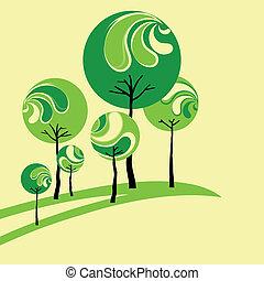 estratto verde, albero, fondo, giallo