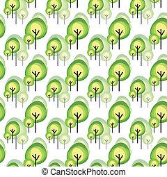 estratto verde, albero, seamless, modello