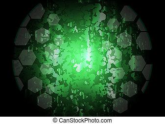 estratto verde, vettore, illuminazione, fondo