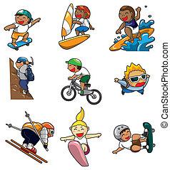 estremo, cartone animato, icona, sport