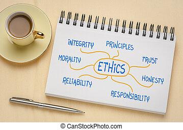 etica, fiducia, -, integrità, mindmap, concetto