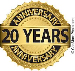 etichetta, anni dorati, anniversario, 20