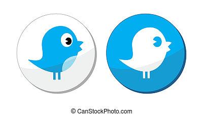 etichetta, blu, sociale, uccello, media, vettore