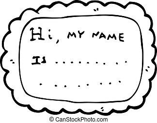 etichetta, cartone animato, nome