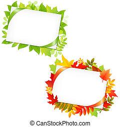 etichetta, mette foglie, regalo, vuoto