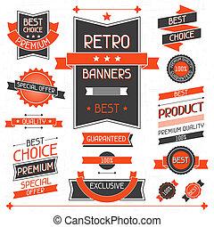 etichette, banners., set, stickers., retro