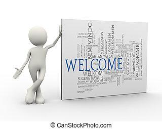 etichette, benvenuto, uomo, wordcloud, standing, 3d, parola