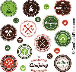 etichette, campeggio