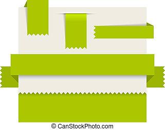 etichette, -, carta, vettore, verde, nastri