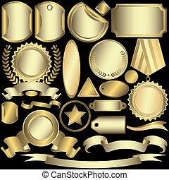 etichette, dorato, (vector), set, argenteo