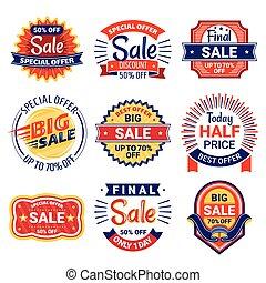 etichette, etichette, set, vendita, tesserati magnetici