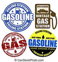 etichette, francobolli, set, benzina