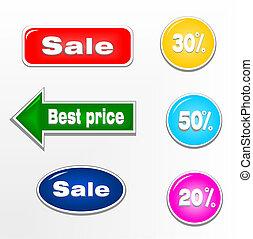 etichette, francobolli, set, vendita