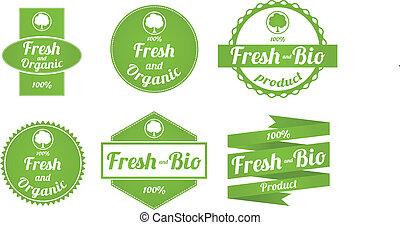 etichette, fresco, set, organico