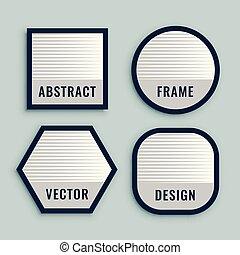 etichette, geometrico, set, linee, audace