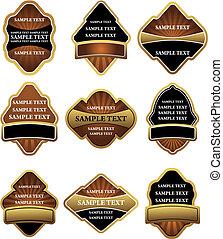 etichette, marrone, set, oro