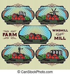 etichette, mulino, set, fattoria, vettore