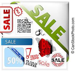 etichette, set, vendita, colorito