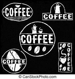 etichette, vendemmia, serie caffè, retro