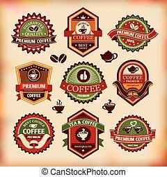 etichette, vendemmia, serie caffè, vettore