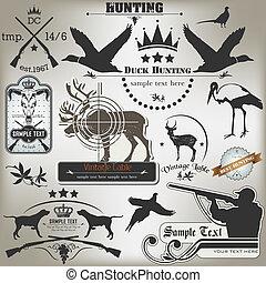 etichette, vendemmia, set, hunting.