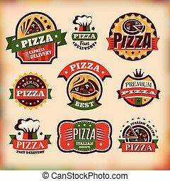 etichette, vendemmia, set, vettore, pizza