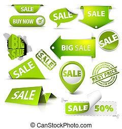 etichette, vendita, collezione, biglietti, francobolli, vettore, verde
