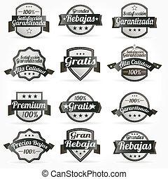 etichette, vettore, set, retro, spagnolo
