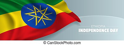etiopia, augurio, card., giorno, vettore, bandiera, indipendenza