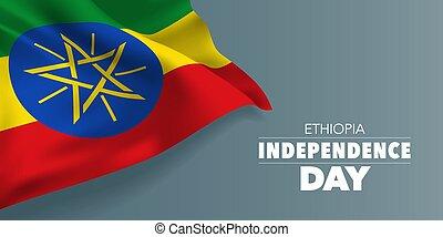 etiopia, illustrazione, augurio, giorno, bandiera, vettore, indipendenza, sagoma, scheda, testo