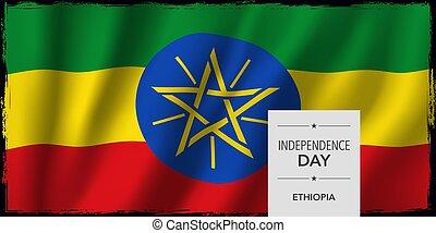 etiopia, illustrazione, augurio, giorno, bandiera, vettore, indipendenza, scheda