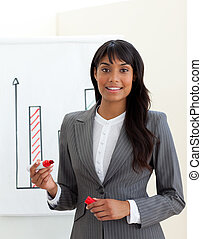 etnico, donna d'affari, giovane, vendite, segnalazione, figure