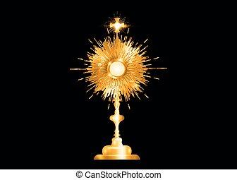 eucharistic, sacramento, oro, isolato, nero, host., visualizzato, cerimonia, traditions., anglicano, vecchio, monstrance, cattolico, benedizione, romano, vettore, ostensorium, benedetto, usato