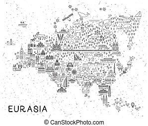 eurasia, animali, icone, manifesto, viaggiare, map., illustrazione, vettore, inspirational, attractions., linea, sightseeing