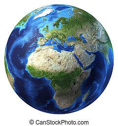 europa, africa, un po', clouds., terra pianeta, vista.