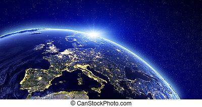europa, città, -, luci