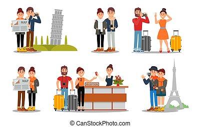 europa, donna, intorno, insieme., uomo, vettore, illustrazione, persone, viaggiante, detenere, giovane, viaggio, caratteri