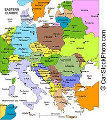 europa, editable, paesi, nomi, orientale