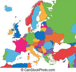 europa, mappa, colorito