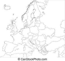 europa, mappa, contorno