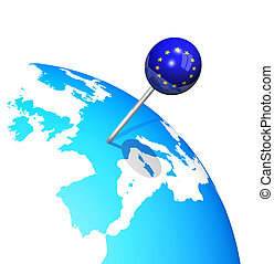 europa, mappa, globo, perno, 3d