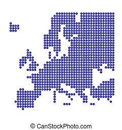 europa, mappa, segno blu, punti, euro