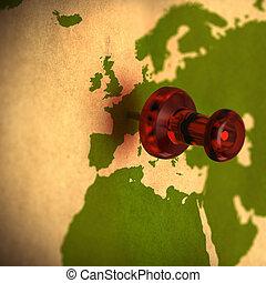 europa, marrone, indicare, mappa, africa, francia, riciclato, carta, verde, occidentale, colori, mondo, thumbtack, rosso