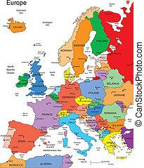 europa, paesi, editable, nomi