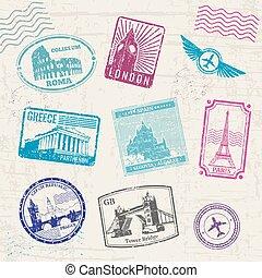 europa, paesi, viaggiare, landmarks., collezione, francobolli, vettore