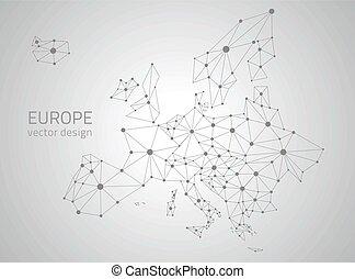 europa, polygonal, vettore, grigio, mappa