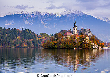 europa, sanguinato, lago, slovenia