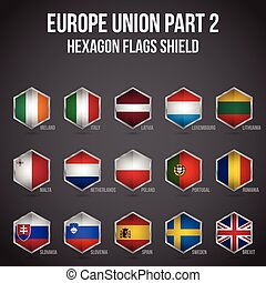 europa, scudo, unione, 2, bandiere, parte, esagono