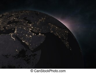 europa, spazio, -, terra pianeta, alba