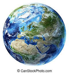 europa, un po', clouds., terra pianeta, vista.